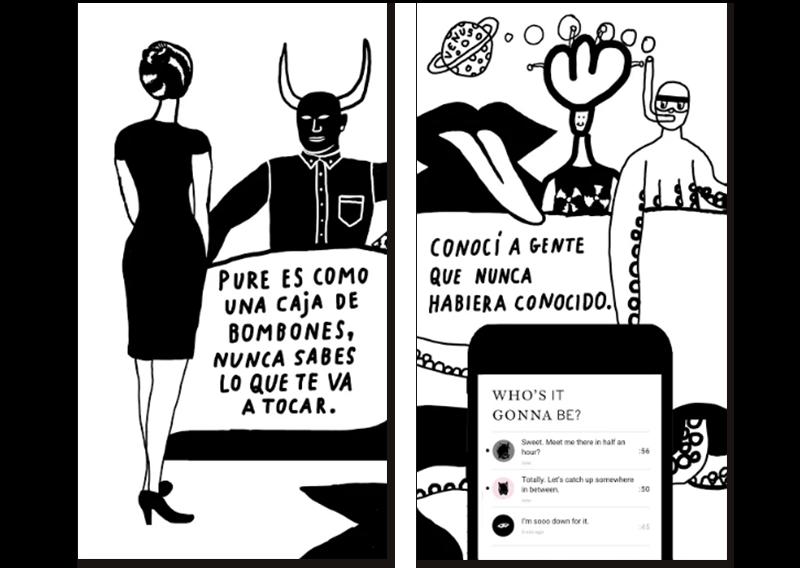 Imágenes de presentación de la app Pure