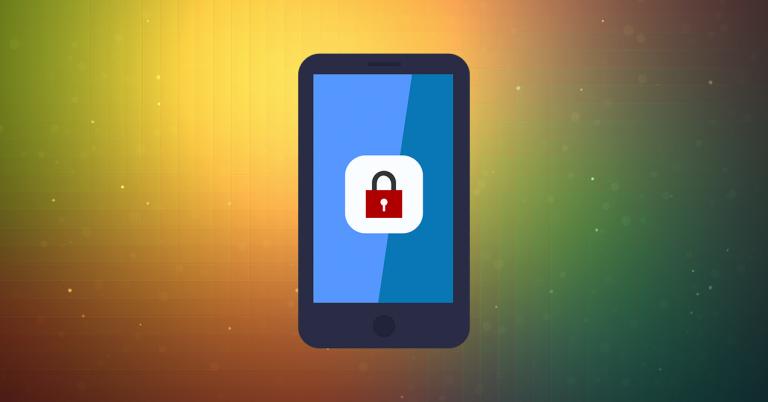 Ilustración de un smartphone con un candado en la pantalla