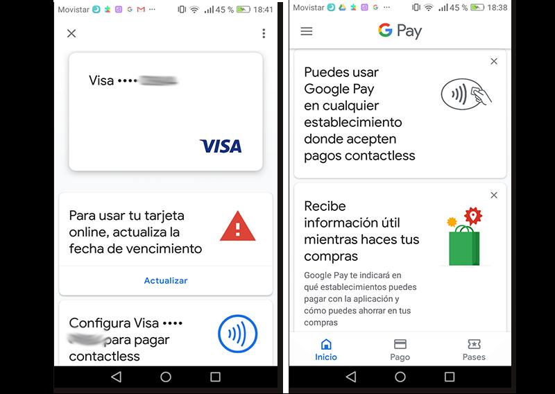 Capturas de pantalla de Google Pay