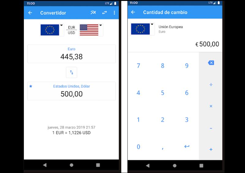 Imágenes de muestra de la app Tipo de cambio