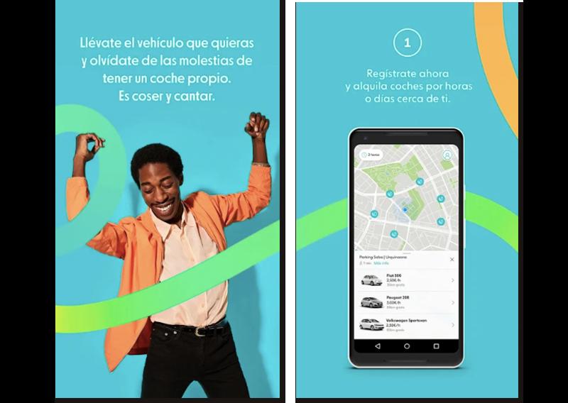 Imágenes de muestra de la app Ubeeqo