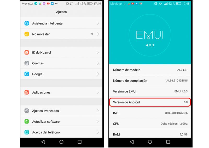 Capturas de pantalla en las que se muestra cómo descubrir la versión de Android que tiene un teléfono
