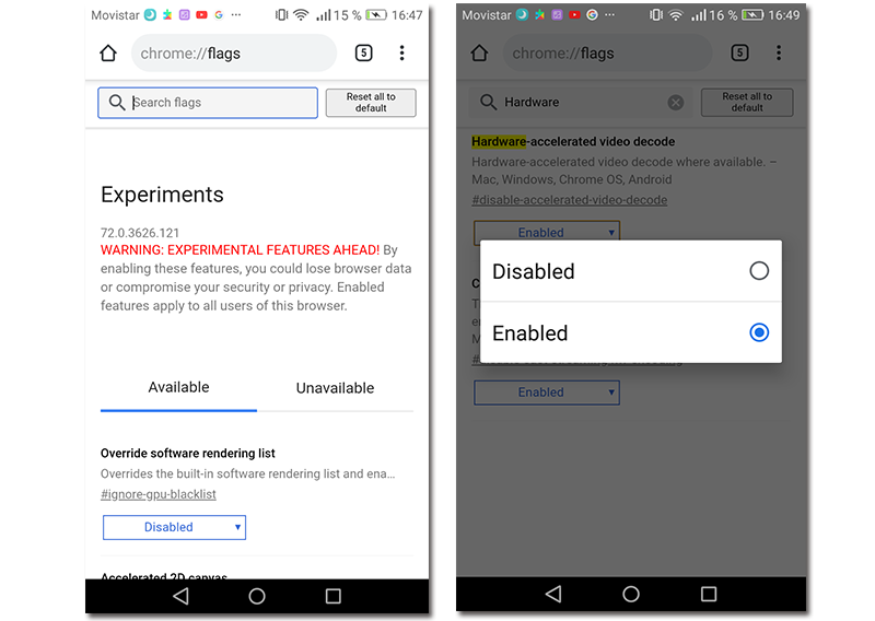 Capturas de pantalla de cómo activar la aceleración por Hardware en Google Chrome