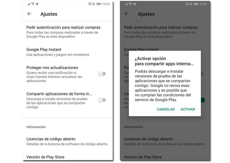play store descargas simultaneas compartir apps internas