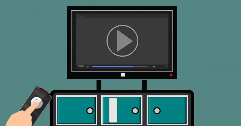 Ilustración de una televisión con un vídeo en la pantalla