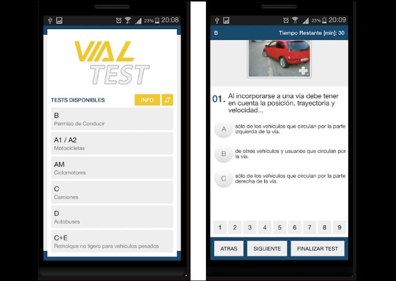 Capturas de pantalla de la app vial test