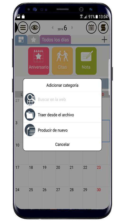 Aplicación Buen Calendario en uso