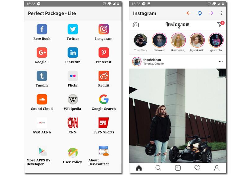 Perfect package redes sociales en una app