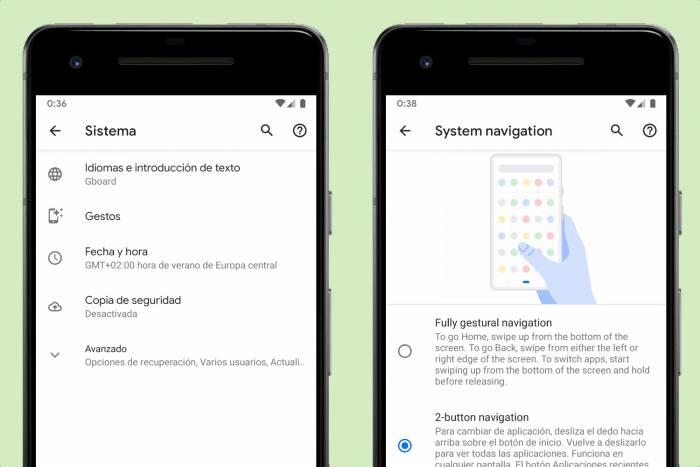 android q beta 5 gestos
