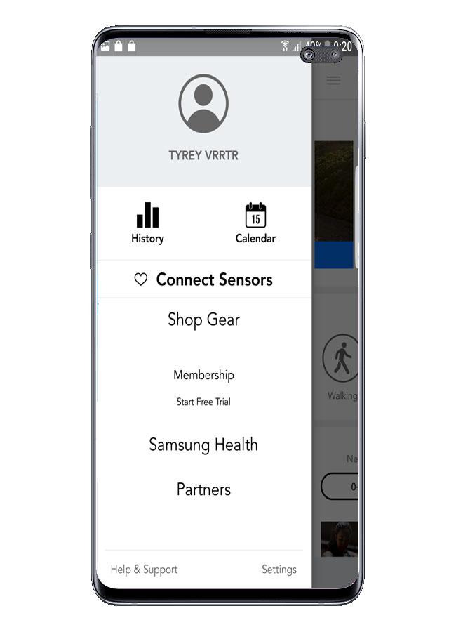 Menú lateral en la aplicación Personal Fitness Coach