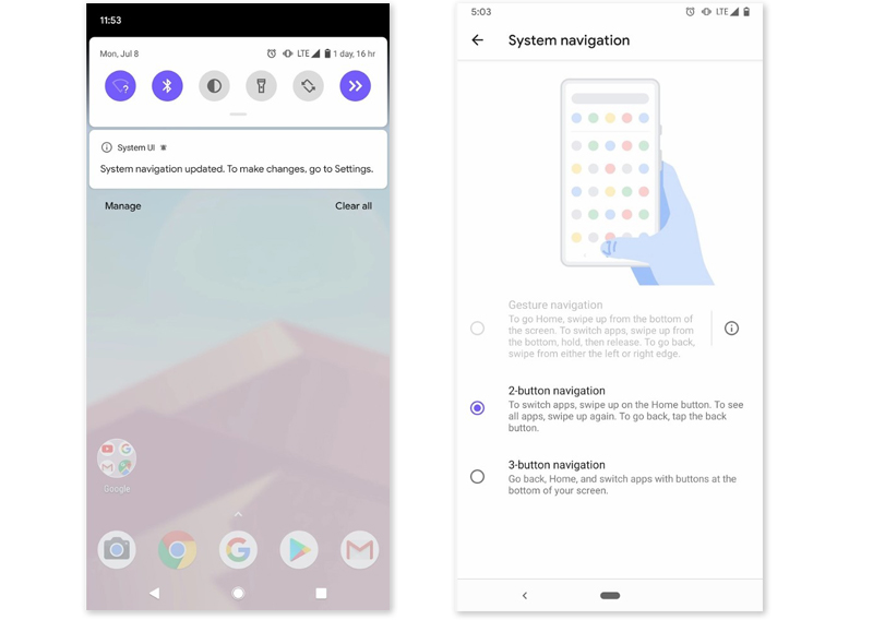Android Q gestos navegación launcher