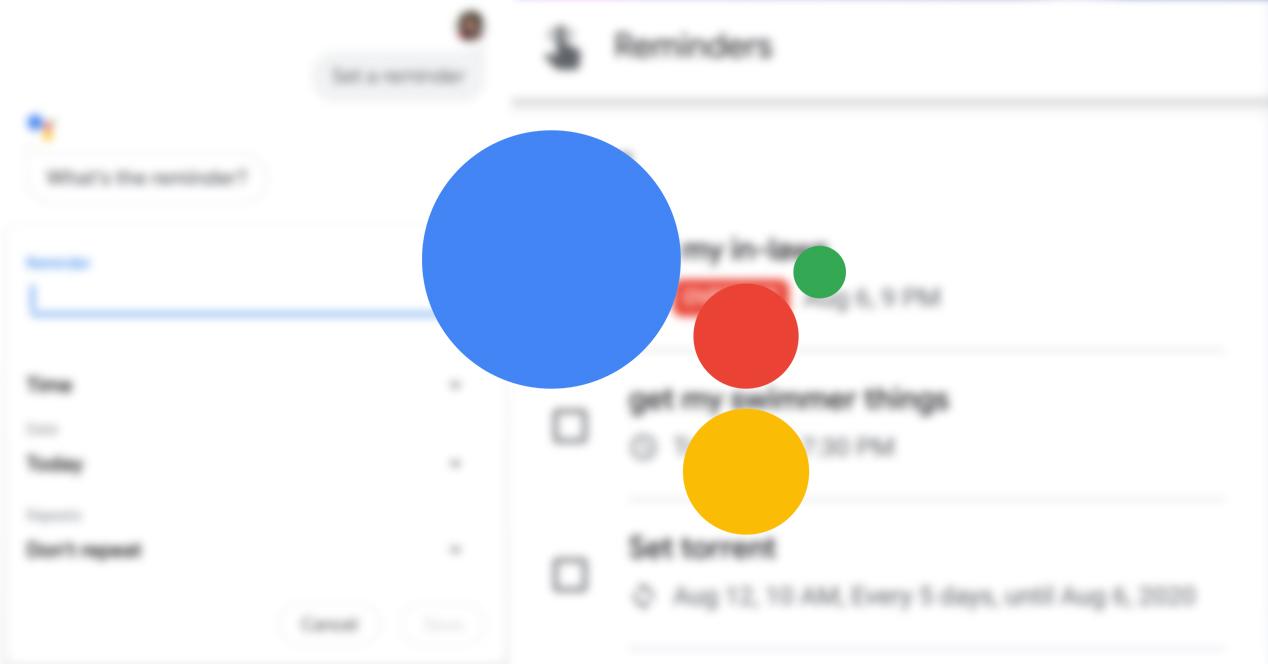 Google Assistant recordatorios