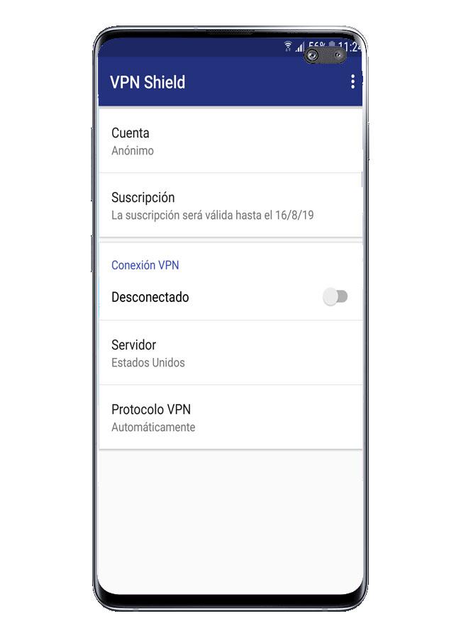 Interfaz de usuario de VPN Shield