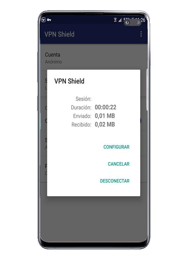 Conexión activa en VPN Shield
