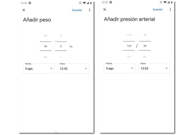 Google Fit peso y presión arterial
