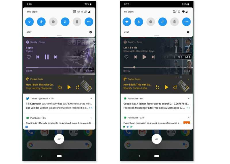 Spotify línea de tiempo notificación