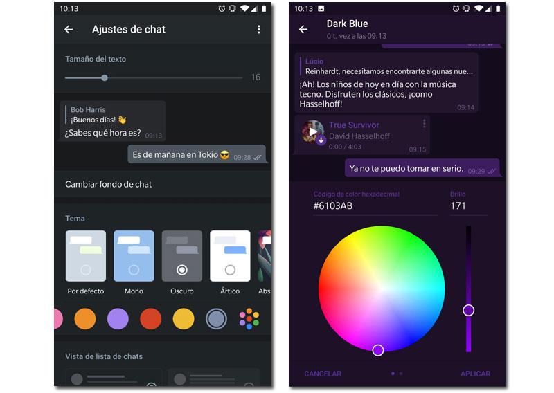 Telegram v5.11 personalización chat