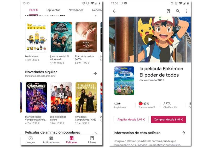 Alquilar películas play store apps para comprar regalos