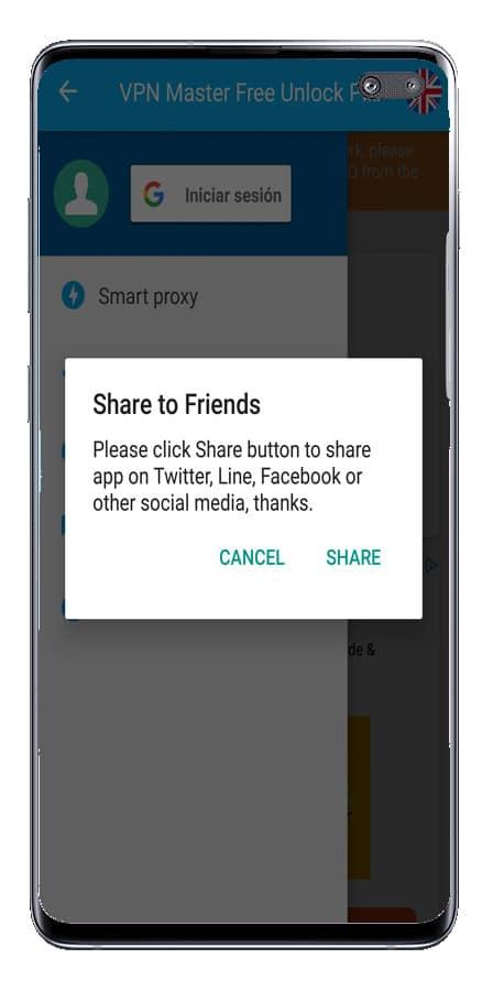 Compartir la aplicación VPN Master