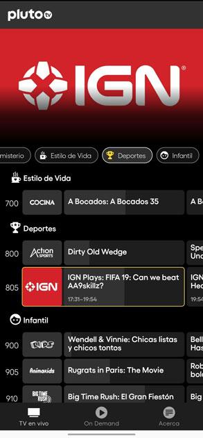 pluto tv interfaz