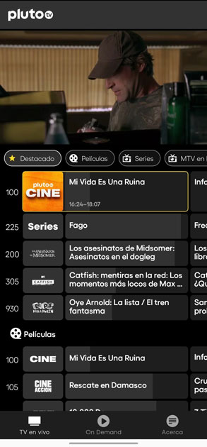 pluto tv programación