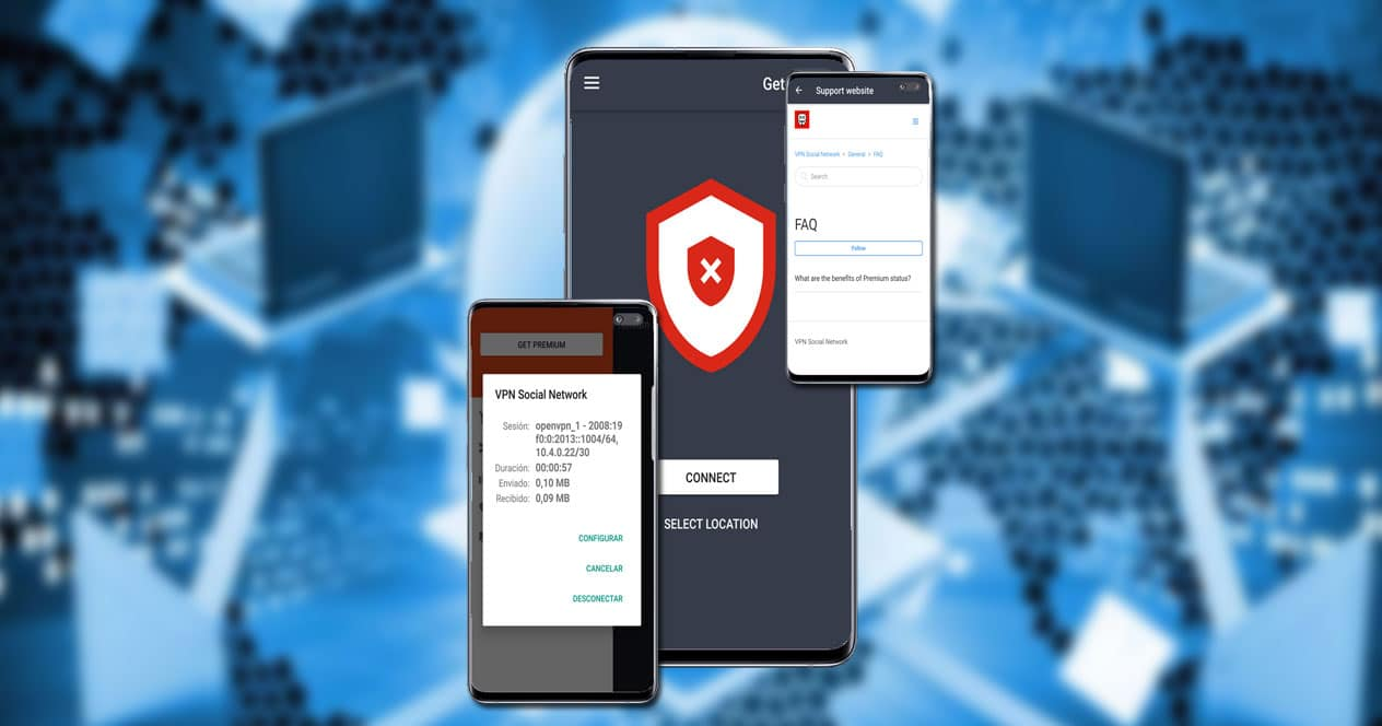Aplicación Social Network VPN con fondo