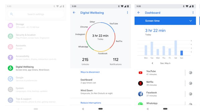 Bienestar Digital interfaz app