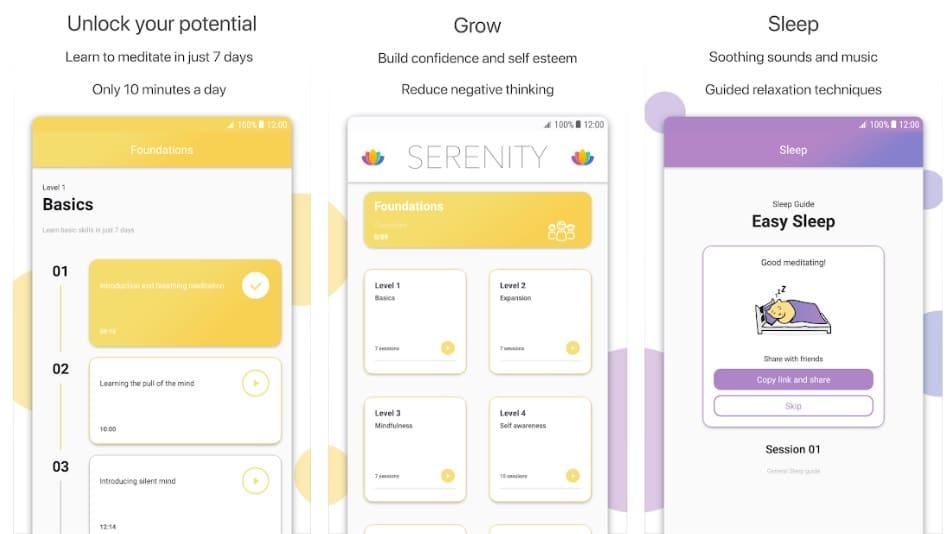 serenity apps para aprender a meditar