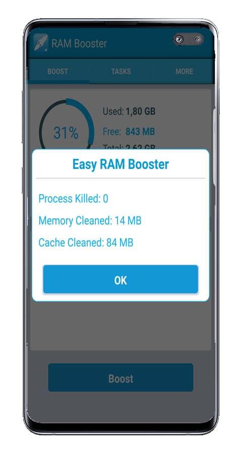 Resumen de uso en RAM Booster Extreme Speed