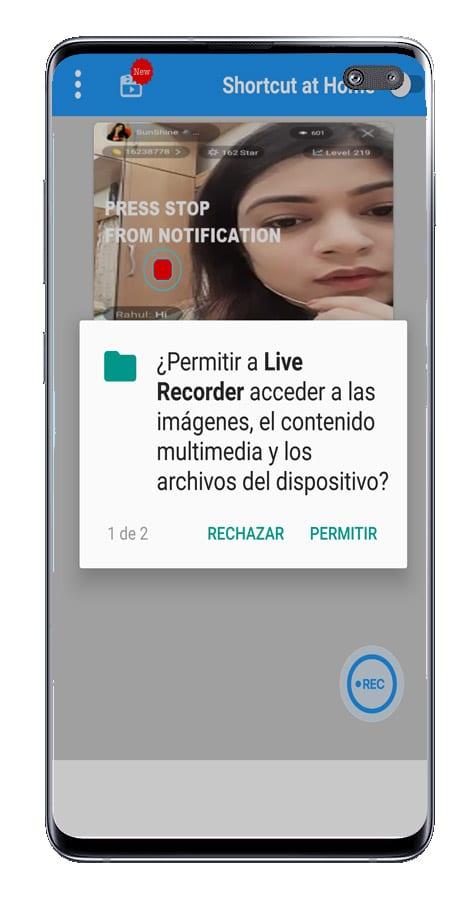 Petición permisos Live recorder - Live screen record with audio