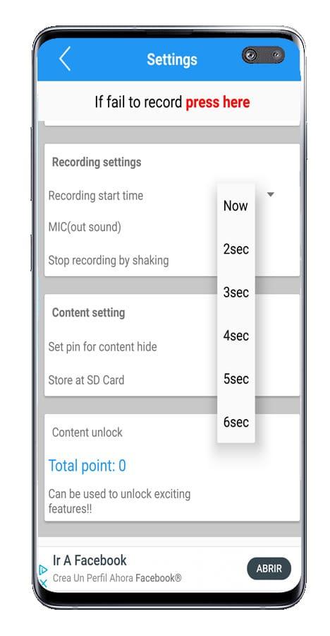 Ajuste tiempo Live recorder - Live screen record with audio