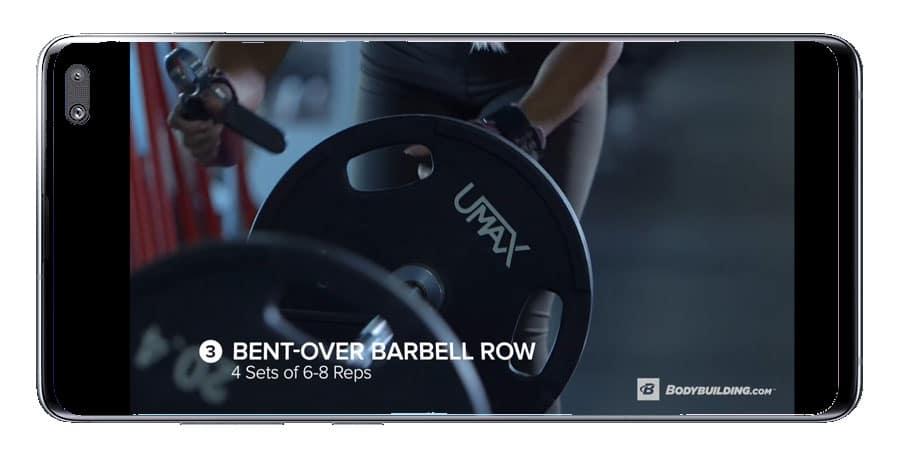 uso de vídeo en la aplicación Gym workout
