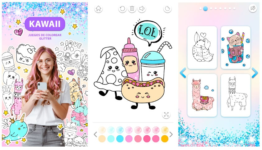 kawaii glitter juegos de colorear