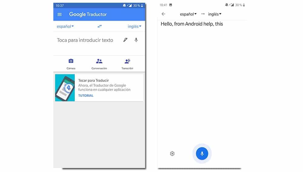transcribir voz traductor de google prueba