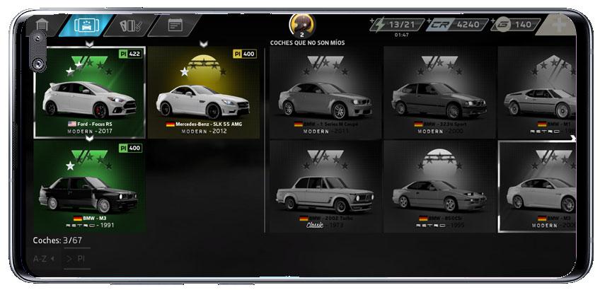 Colección de coches en Forza Street juego de carreras