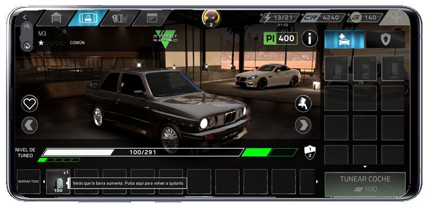 Garaje en le juego de carreras Forza Street