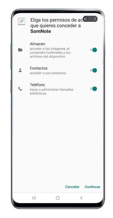 Permisos de SomNote en Android
