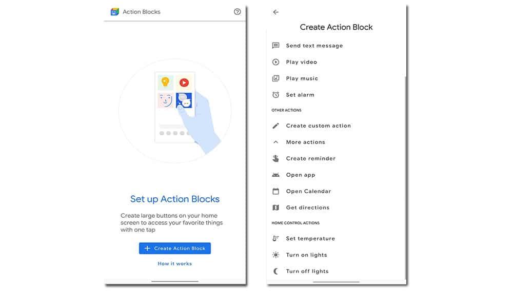 action crear widget