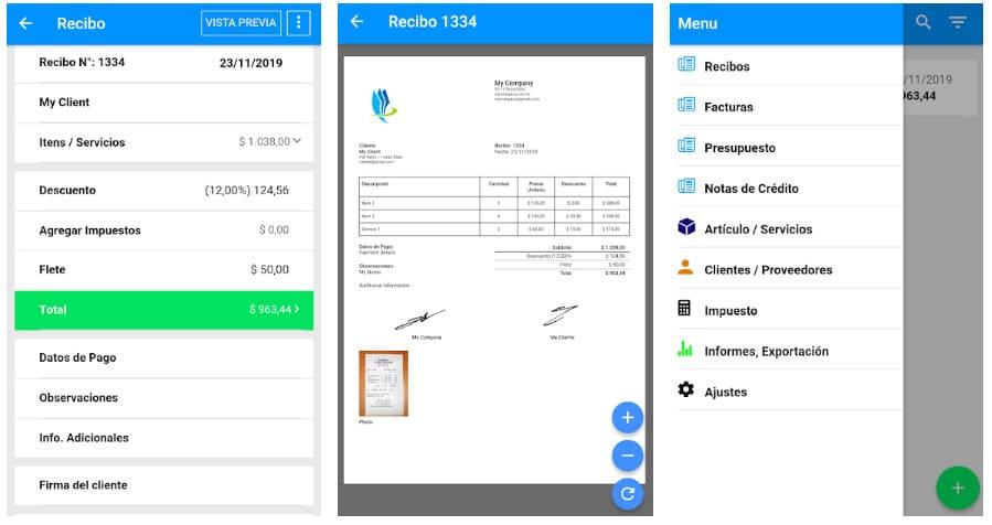 app recibos, facturas y presupuestos