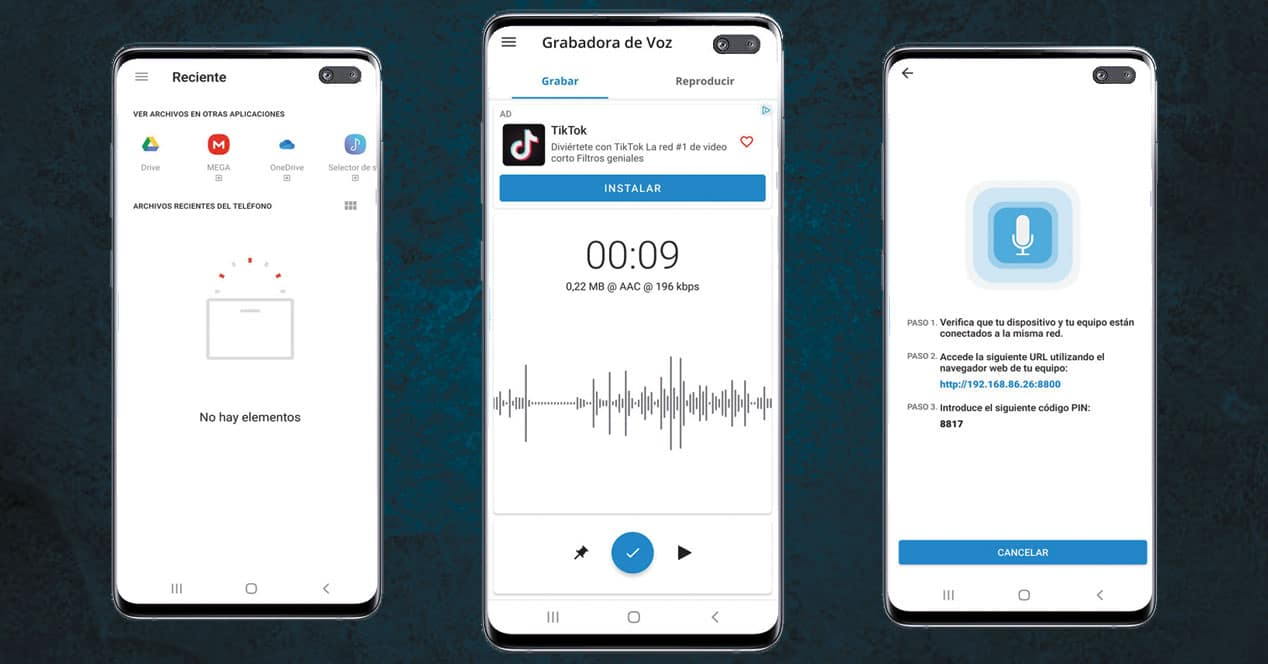 Pantalla de la aplicación Grabadora de Voz