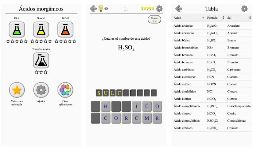 ácidos iones prueba de juegos de química