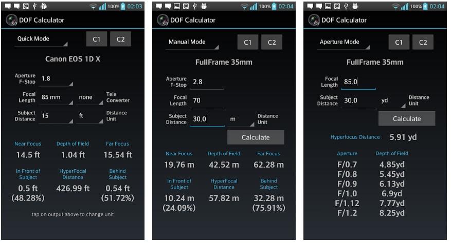 apps útiles fotografía dof calculator