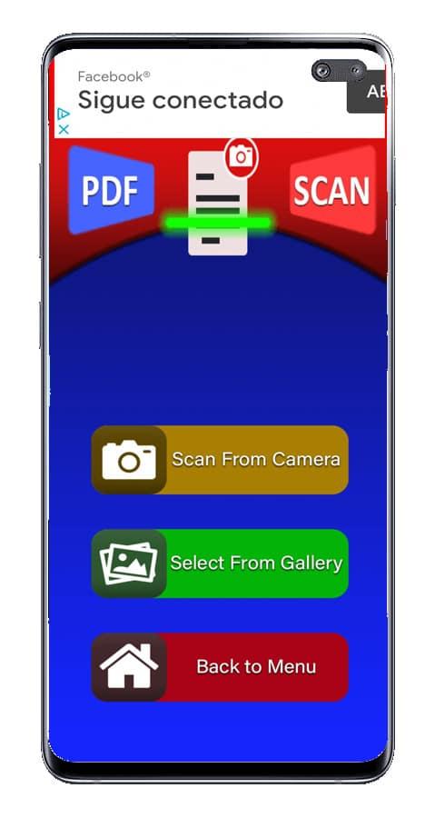 Interfaz de PDF escáner cam