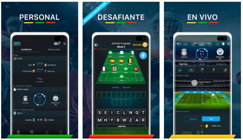 365 score apps de fútbol