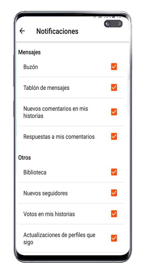 Opciones de notificación Wattpad