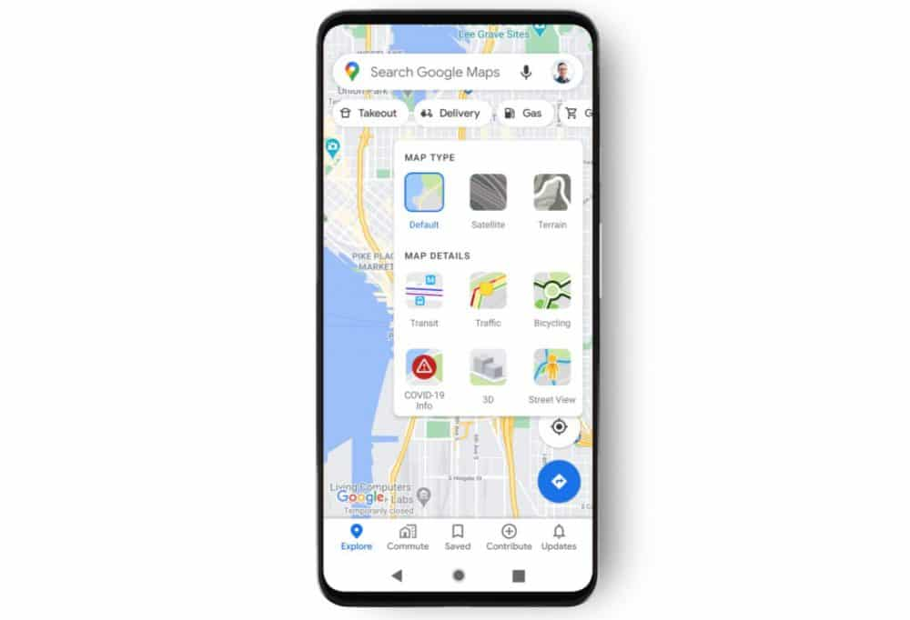 capas covid-19 google maps tipos