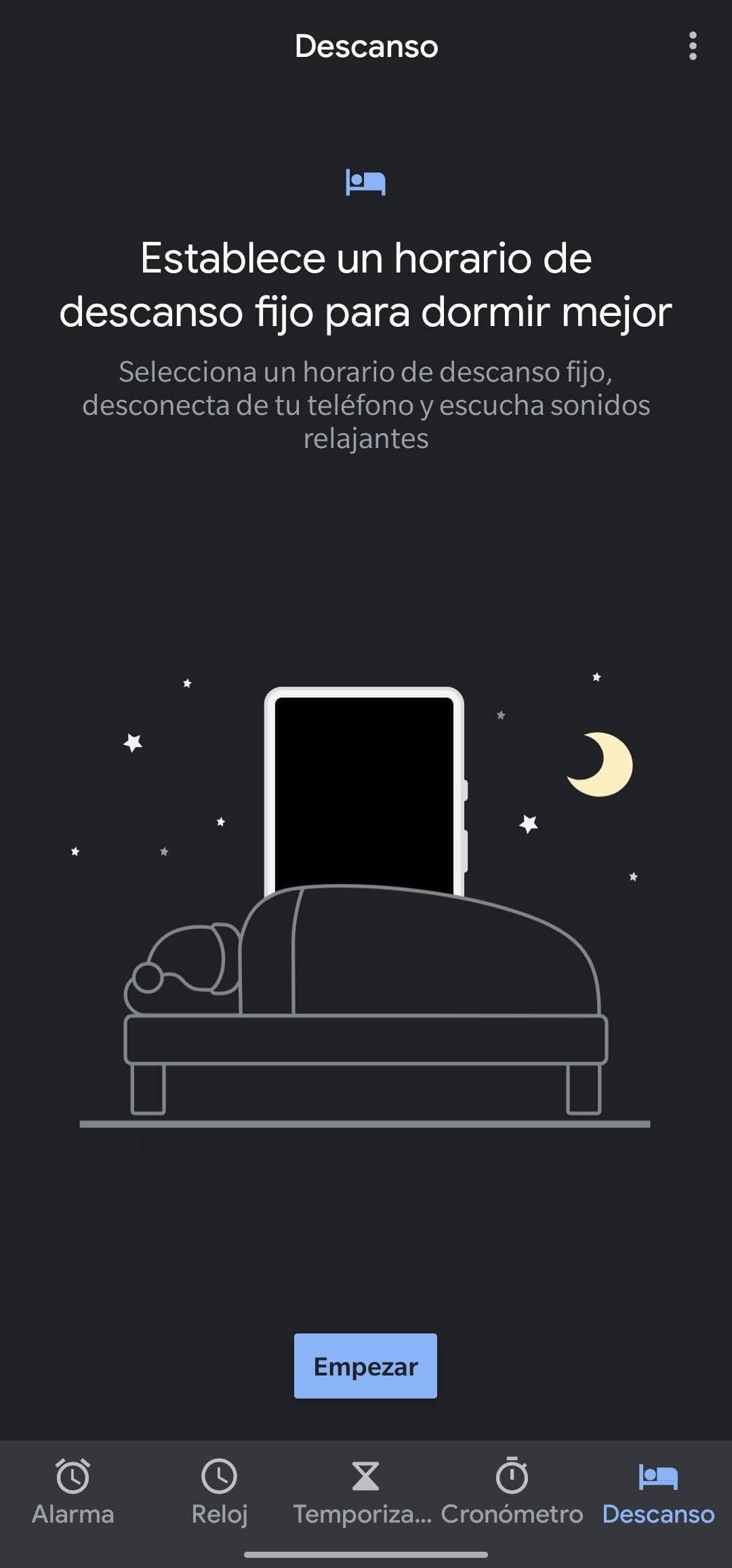 modo descanso reloj de google inicio