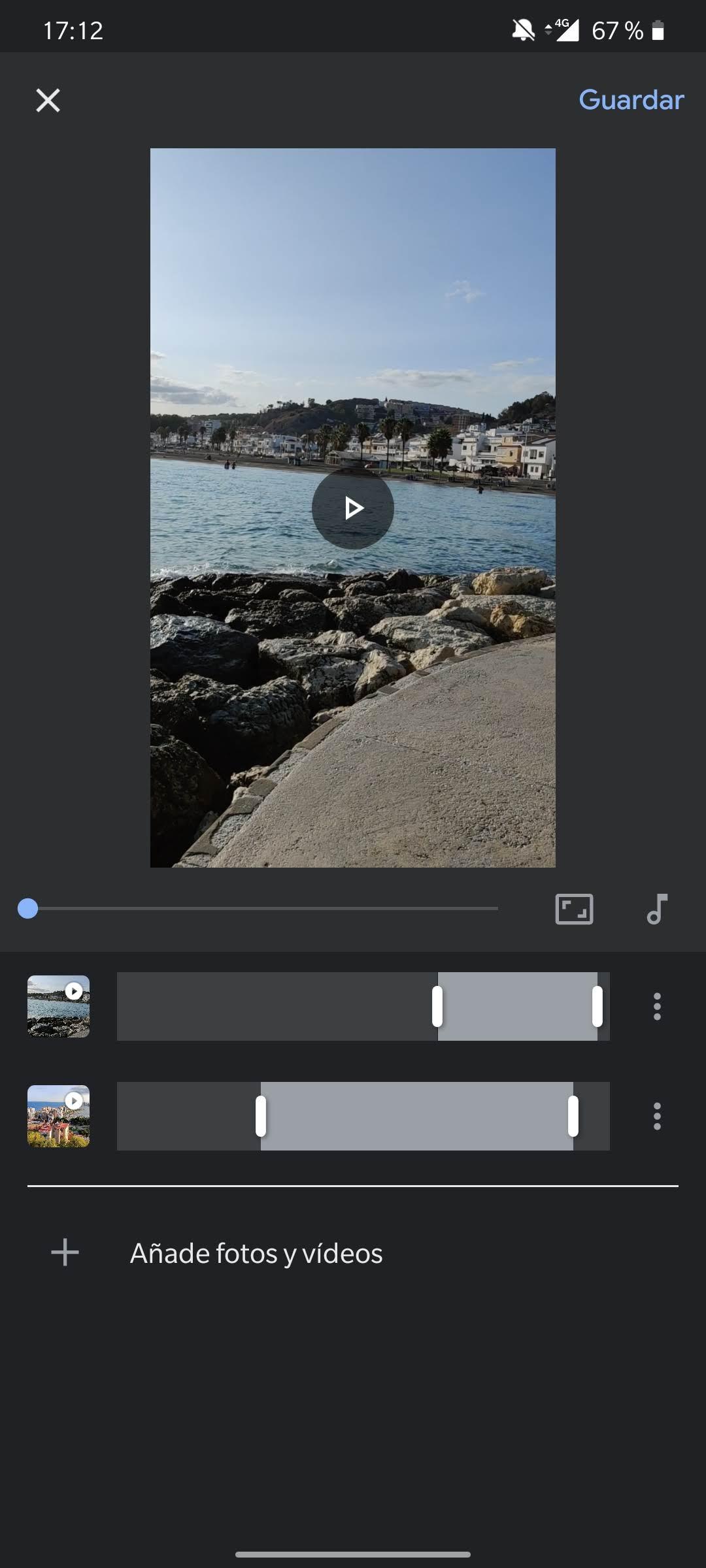 unir vídeos google fotos editor