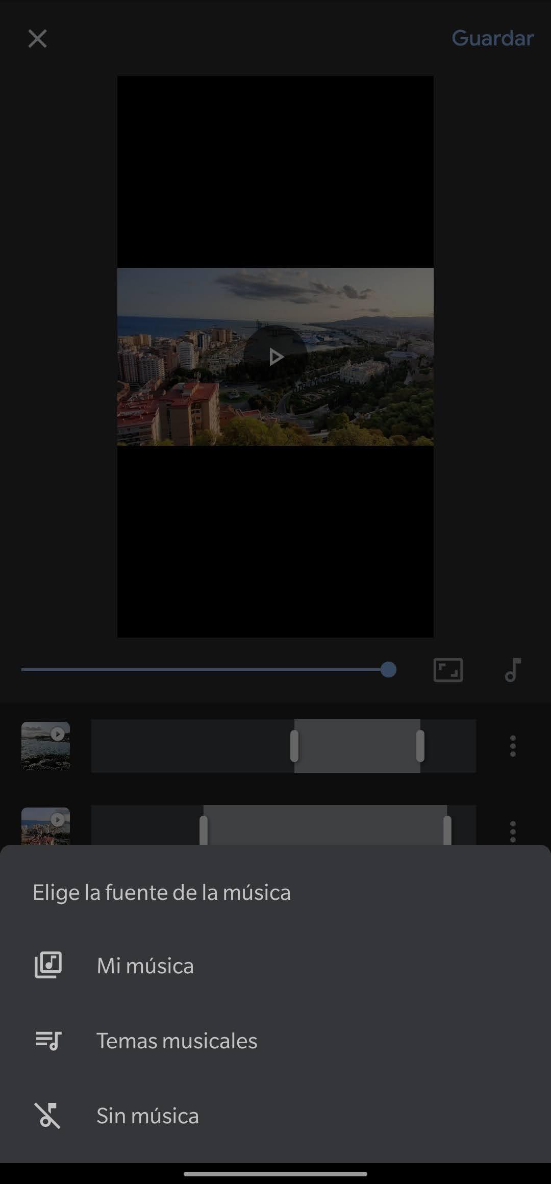 unir vídeos google fotos editor música