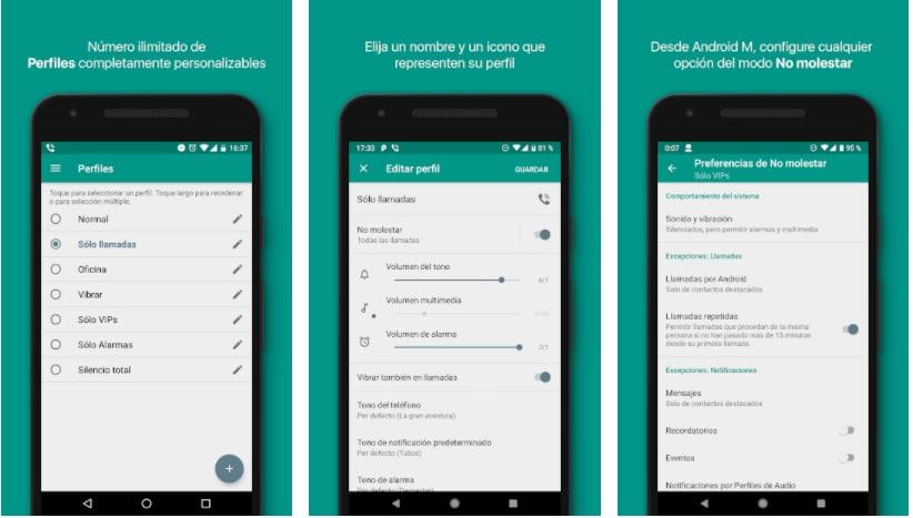 audio profiles apps controlar volumen